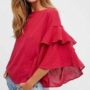 Free People Cool Cat Oversized Bell Sleeve Top S